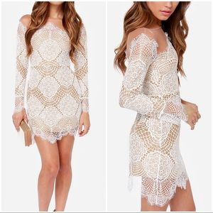 FOR LOVE & LEMONS GRACE BEIGE AND WHITE LACE DRESS